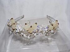 Bonito Linzi Jay Dama de Honor Boda Tiara Diadema Plata Perlas de Cristal
