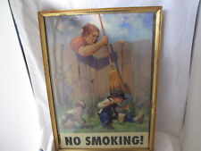 Framed Vintage Reprint Woman With Broom Hitting Boy Smoking Corn Cob Pipe Humor