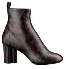 NEW Louis Vuitton Monogram BLACK RED NEW REVIVAL Ankle Boot Shoes 37, 6.5