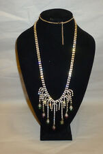 Sparkle Crystal Rhinestone Dangle Colored Glass High Scale Dress Necklace FN0026