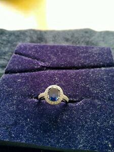 Sterling silver ring size p used simulated sapphire and diamonque qvc.