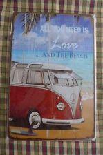 VW Camper Van Love Metal Sign Painted Poster Garage Superhero Wall Decor Art D*