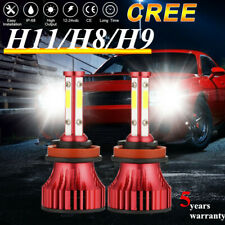 2200W 4-sides H11 H8 H9 580000LM COB LED Headlight Bulb Conversion fog light HID