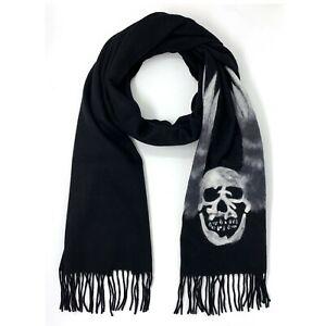 John Varvatos Star USA Men's Skull Wings Graphic Fashion Scarf Merino Wool Black