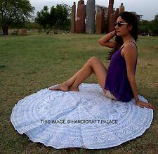 Indian Mandala Hippie Yoga Mat Silver Tapestry Decor Cotton Round Beach Throw