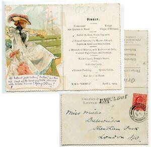 GIBRALTAR/ PAQUEBOT 1904 Menu letter card from RMS Ormuz GB 1d pmk GIBRALTAR cds