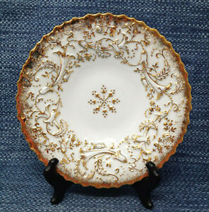 Vintage Meissen Heavy Gold Gilded Rococo Leaf Floral Bowl Plate 8.5 EUC