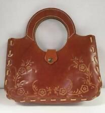 WaBags Womens Brown Tooled Leather Western Satchel Handbag Purse BOHO