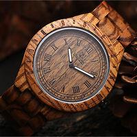 UWOOD Natural Zebra Wood Watch for Men Gift Quartz Mens Solid Mens Wooden Watch