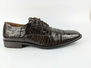 Martinelli Brown Croc Print Leather Lace Up Shoes Uk 7 Eu 41