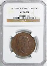 Venezuela 1852 Centavo Heaton Mint NGC XF-40 BN