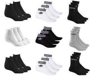 Adidas Mens Womens 3 Pairs Crew No Show Ankle Socks Trefoil Black White Grey
