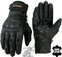 MENS MOTORBIKE VENTED PERFORATED CARBON SHELL KNUCKLE MOTORCYCLE LEATHER GLOVES