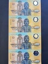 SUPERB AUSTRALIA STRIP OF FOUR UNCUT 1988 POLYMER $10 BANKNOTES