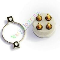 10pc 4pin Gold Ceramic vacuum Tube Valve Socket For 300B 2A3 801 274A audio amps