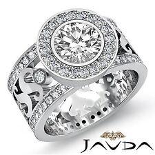 Round Diamond Halo Pave Set Designer Engagement Ring GIA F SI1 Platinum 2.3ct