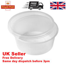 More details for round food containers plastic clear tubs lids 8oz deli reusable microwavable