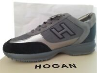 HOGAN INTERACTIVE H FLOCK MENS TRAINERS/SNEAKERS BLACK/GREY/SILVER -VERY LIMITED