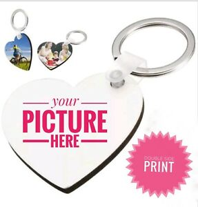 Personalized Heart Shaped Key Tag  Key chain with Custom Image Photo Picture