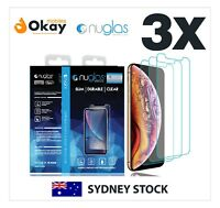3xGENUINE NUGLAS Tempered Glass Screen Protector Apple iPhone XS X 8 7 6S Plus