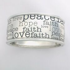 💜Brighton HOPE LOVE PEACE Silver Hinged Bangle Bracelet