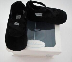 NIB Ralph Lauren Priscilla Black Velvet Ballet Flat Dress Shoes Sz 1 2 3 4 NEW