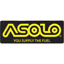 "Asolo 'You Supply The Fuel' Logo Licensed Sticker, Lrg 6""x 2"", Black/Yellow -NEW"