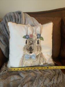 Loving Kindness Bunny Rabbits Embroidered Decorative Pillow Farmhouse Nursery