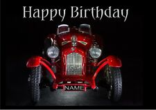 PERSONALISED CAR VEHICLE MOTOR BIRTHDAY CARD Illus Inside NAME ON NUMBER PLATE