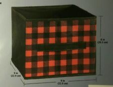 4pk ESSENTIALS Red Black Plaid Storage Cube Collapsible 9 IN x 9 IN x 8 IN