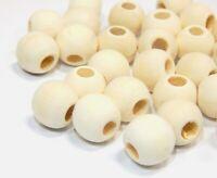 100 Natur Holzperlen 12mm Rund großes Loch 5mm Schmuck perlen Farblos BEST H168