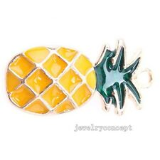 15x Gold Plated Yellow Green Enamel Pineapple Alloy Pendants Boutique Crafts J