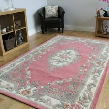 100% Wool Pink Shabby Chic Traditional Rugs Thick Aubusson Medallion Blush Rugs
