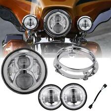 """7"""" Projector Headlight Passing Light Fit Harley Softail Deluxe Slim Fat Boy FLD"""