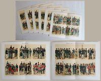 6 Chromolithographische Tafeln Militärgeschichte Soldatenuniformen um 1890 xz