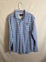 Vineyard Vines Men's Harbor Performance Fishing Button Up Shirt Blue Check Large