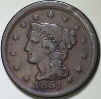 1851 Braided Hair Large Cent - ** VF+ **  - Solid, original coin