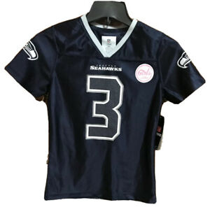 Seattle Seahawks WILSON Girls Medium Blue Jersey 3 NEW