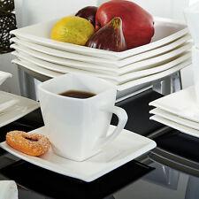 32PCS Ceramic Square Dinnerware Dinner Service Sets Cream White Plates Cups Dish