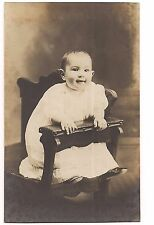 RPPC BIG EARED BABY Funny Smile, Photography Chair Vintage Photo Postcard AZO