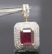 4.35CT SOLID 14K YELLOW GOLD NATURAL DIAMOND FILLING BLOOD RUBY WEDDING PENDANT