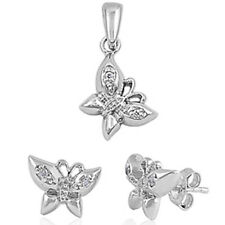 CUTE RUSSIAN CZ BUTTERFLY .925 Sterling Silver Pendant & Earring Set