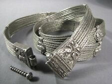 Vintage Tribal Indian Lion Silver Woven Chain Antique Belt Rajasthan India