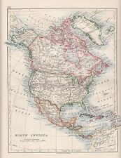 1921 MAP ~ NORTH AMERICA ~ DOMINION OF CANADA UNITED STATES MEXICO CUBA JAMAICA