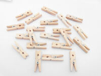 100x 30mm mini natural wooden pegs baby shower craft clothes pin gift card tags