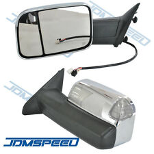 Pair Chrome Power Heated Towing Mirrors For 2009-15 Ram 1500 Pickup Signal Light