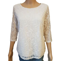 Ex Store Womens / Ladies Cream Lace 3/4 Sleeve Lined Top