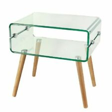 Glass Coffee Table With Wooden Stand Modern Rectangle Tempered Glass Table Home