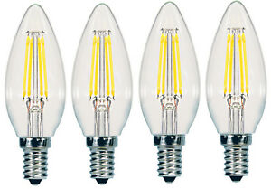 4-pack ,2 boxes of 2 Sunbeam 4W 40W LED Dimmable Candelabra Lights Light Bulbs