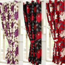 Ready Made Eyelet Ringtop High Quality Heavy Floral Curtains With Tie Backs Sale